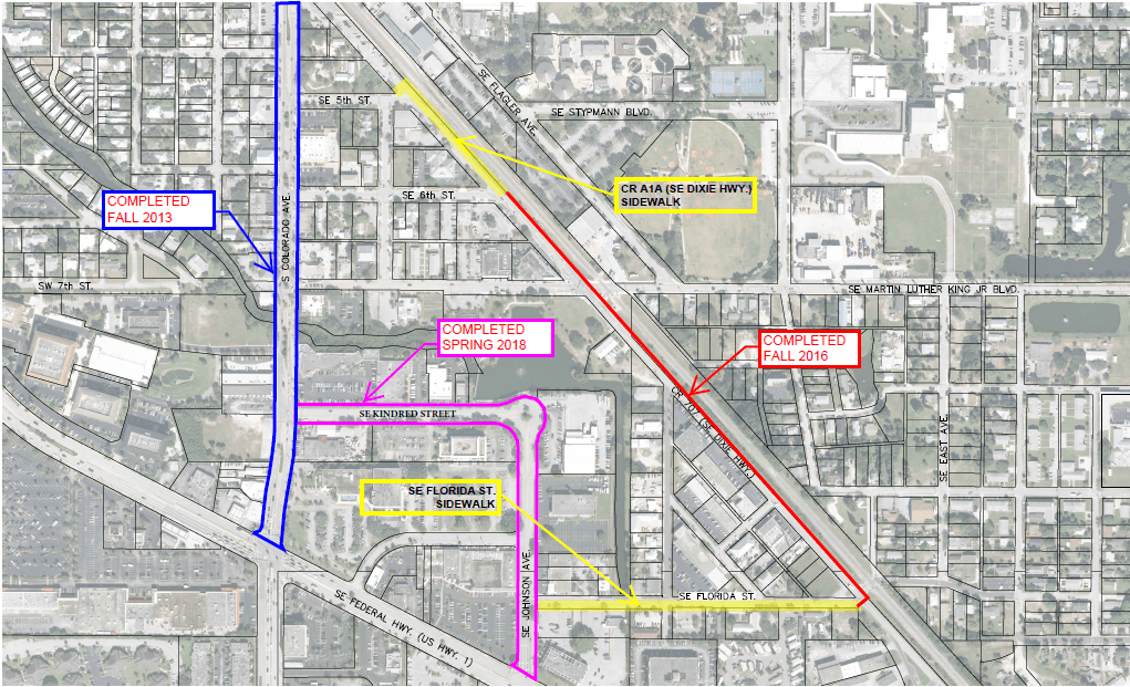 CR A1A SE Dixie Highway and Florida Street Sidewalk Extension Project Map