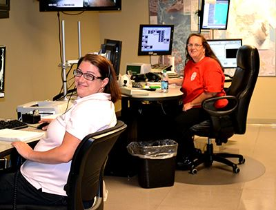 Dispatchers sitting at desks